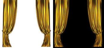 Guld- gardinbakgrund Arkivfoto