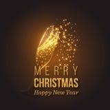 Guld- garnering för jul med champagnefärgstänk stock illustrationer