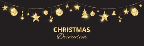 Guld- garnering för jul på svart bakgrund Ferievektorram, gräns stock illustrationer