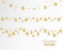 Guld- garnering för jul som isoleras på vit bakgrund Ferievektorram, gräns vektor illustrationer