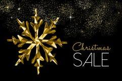 Guld- garnering för julförsäljning för vinterrabatt stock illustrationer