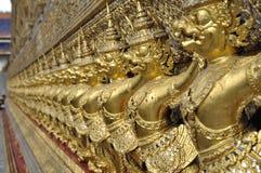 Guld- Garuda radThailand skulptur Arkivfoton