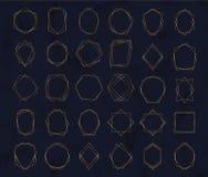 Guld- geometriska polygonal ramar Dekorativa linjer gränser Lyxiga designbeståndsdelar för att gifta sig inbjudan, bloggstolpar,  royaltyfri illustrationer