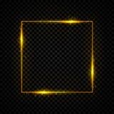 Guld- glänsande fyrkantigt baner Guld- gnistrande, glödande ljus effekt för neon också vektor för coreldrawillustration royaltyfri illustrationer