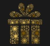 Guld- glänsande gåva på mörk bakgrund illustration Royaltyfri Bild