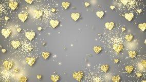 Guld- glänsande hjärtor mousserar på den gråa bakgrunden med text Animering för ögla för abstrakt begrepp för valentindagferie