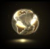Guld- glänsande värld royaltyfri illustrationer