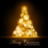 Guld- glödande julgran stock illustrationer
