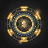 Guld- glödande kasinochip vektor illustrationer