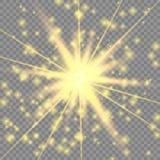 Guld- glödande ljus effekt vektor illustrationer