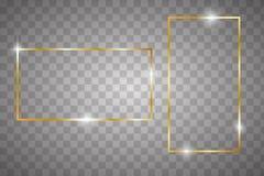 Guld- glödande ram vektor illustrationer