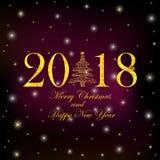 Guld- glad jul för tal 2018, för julgran och för text och Arkivbild