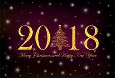 Guld- glad jul för tal 2018, för julgran och för text och Royaltyfria Bilder