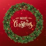 Guld- glad jul som är typografisk på röd bakgrund med julkransen av trädfilialer, bär, ljus, bokeh stock illustrationer