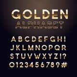 Guld- glansig stilsort Engelskt alfabet och nummertecken royaltyfri illustrationer