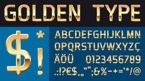 Guld- glansig vektorstilsort med speciala tecken Royaltyfri Bild