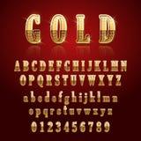 Guld- glansigt alfabet stock illustrationer