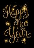 Guld- glittery design för lyckligt nytt år vektor illustrationer