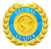 Guld- global ledare Winner Laurel Wreath Medal vektor illustrationer