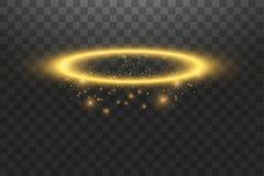 Guld- gloriaängelcirkel Isolerat på svart genomskinlig bakgrund, vektorillustration vektor illustrationer
