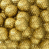 Guld- golfbollbakgrund Fotografering för Bildbyråer