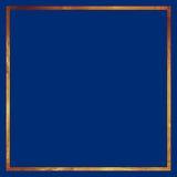 Guld- gränsram på blå bakgrund Arkivbild