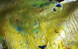 Guld- gräsplanblått målar guld- färger för den violetta vattenfärgen, abstrakt bakgrund Royaltyfri Fotografi