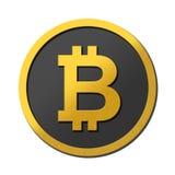 Guld- grått bitcoinsymbolmynt på vit bakgrund Reflekterande logo 3D Mörker - grå färger och guldfärger Logo Concept Arkivbilder