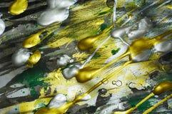 Guld- gröna livliga skuggor för abstrakt silver för målarfärg färgrik, abstrakt textur Arkivfoto