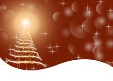 Guld- grafisk illustrationjulbakgrund med trädet, ljus, stjärnor och snö Royaltyfria Foton