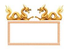 Guld- gragonstaty Arkivbilder