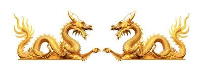 Guld- gragonstaty Royaltyfri Bild