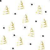 Guld- gran-träd för handattraktion på vit bakgrund royaltyfri illustrationer