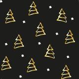 Guld- gran-träd på svart bakgrund Sömlös modell för jul för inpackning royaltyfri illustrationer