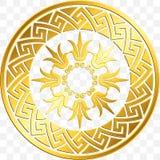 Guld- grekisk prydnad för traditionell tappning, slingringar vektor illustrationer