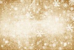 Guld- grungeillustration av en vinterbakgrund med snöflingor Fotografering för Bildbyråer