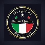 Guld- grungestämpel med den italienska kvalitets- och originalprodukten för text Etiketten innehåller den italienska flaggan royaltyfri illustrationer