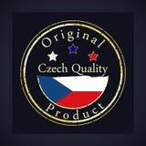 Guld- grungestämpel med den tjeckiska kvalitets- och originalprodukten för text stock illustrationer