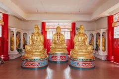 Guld- Guanyin skulpturer i Keken Lok Si Temple är en buddistisk tempel i Penang arkivfoto