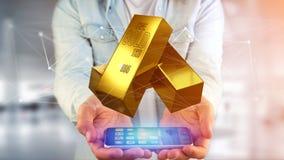 Guld- guldtacka som framme shinning av anslutning - 3d framför Arkivbild