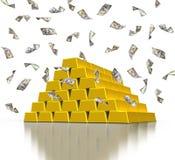 Guld- guldtackastänger och fallande dollarräkningar Arkivbild
