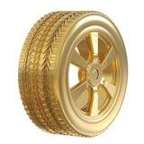 Guld- gummihjul med det guld- hjulet Royaltyfri Foto
