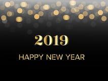 Guld- hälsa text för lyckligt nytt år 2019 med suddigt bokehljus Vektorillustration i svart bakgrund vektor illustrationer