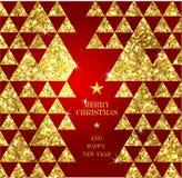 Guld- hälsningkort för jul Royaltyfri Bild