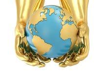 guld- händer för jord Royaltyfri Foto