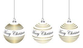 Guld- hänga för julstruntsaker Arkivfoton