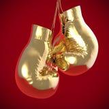 Guld- hängning för boxninghandskar framför Stock Illustrationer