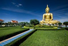 guld- härliga stora buddha Arkivbild