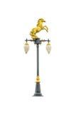 Guld- hästgatalampa på vit Royaltyfria Foton