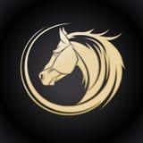 Guld- hästlogo Royaltyfri Fotografi